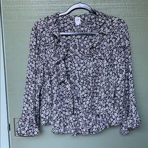 GAP- size XL- boho floral long sleeve blouse